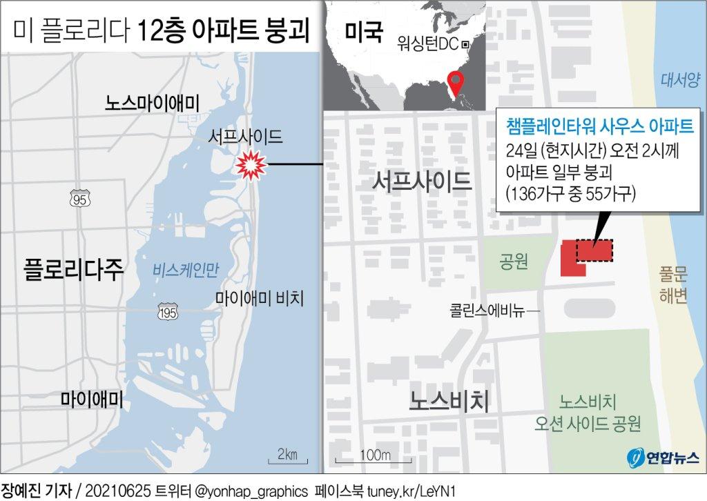 [그래픽] 미 플로리다 12층 아파트 붕괴
