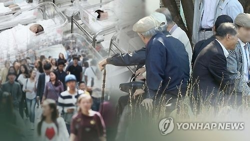 This undated captured image from Yonhap News TV shows elderly South Koreans talking to each other, as well as babies resting at a hospital, in a report on the country's decreasing population and side effects. (Yonhap)