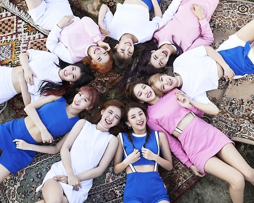 The file photo, provided by JYP Entertainment, shows members of K-pop group TWICE. (Yonhap)
