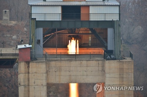 A photo of North Korea's new rocket engine test (For Use Only in the Republic of Korea. No Redistribution.) (KCNA-Yonhap)