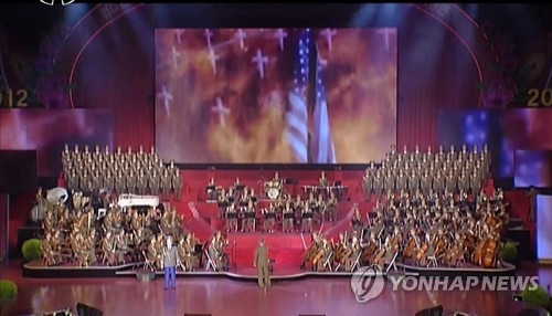 This image captured from footage on North Korea's state-run TV station on April 18, 2017, shows North Korea's simulated missile attack on the United States. (For Use Only in the Republic of Korea. No Redistribution) (Yonhap)