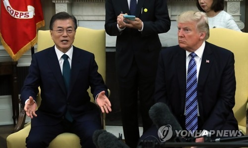(2nd LD) Moon says renegotiation of Korea-U.S. FTA not part of summit agreement with Trump - 2