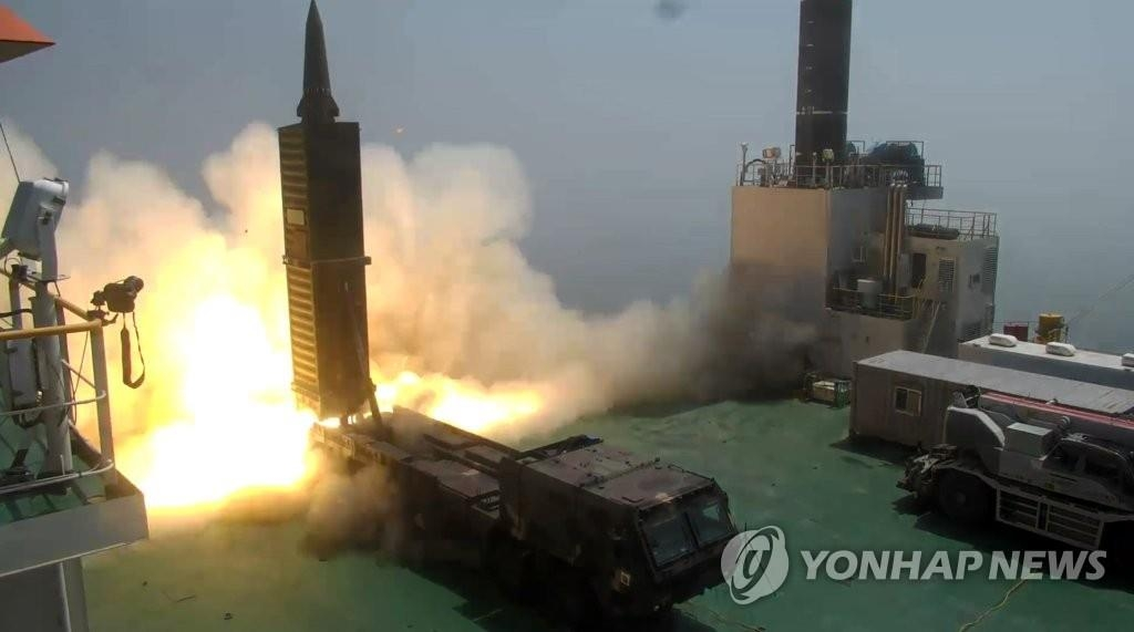 A Hyunmoo-2 ballistic missile is fired in this file photo provided by the Ministry of National Defense (Yonhap)
