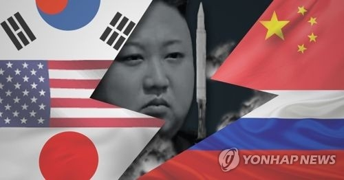 A composite image of North Korean leader Kim Jong-un and flags of regional powers. (Yonhap)