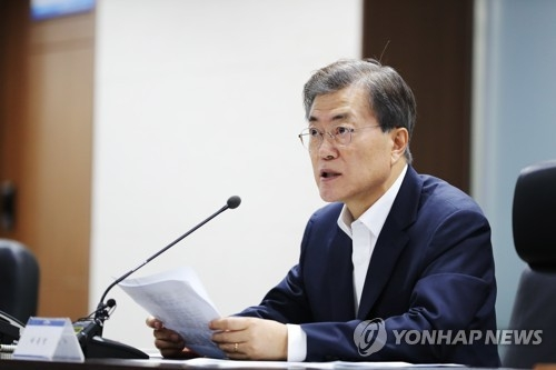 President Moon Jae-in speaks during a National Security Council session at the presidential office Cheong Wa Dae in Seoul on July 29, 2017, in this photo provided by his office. (Yonhap)