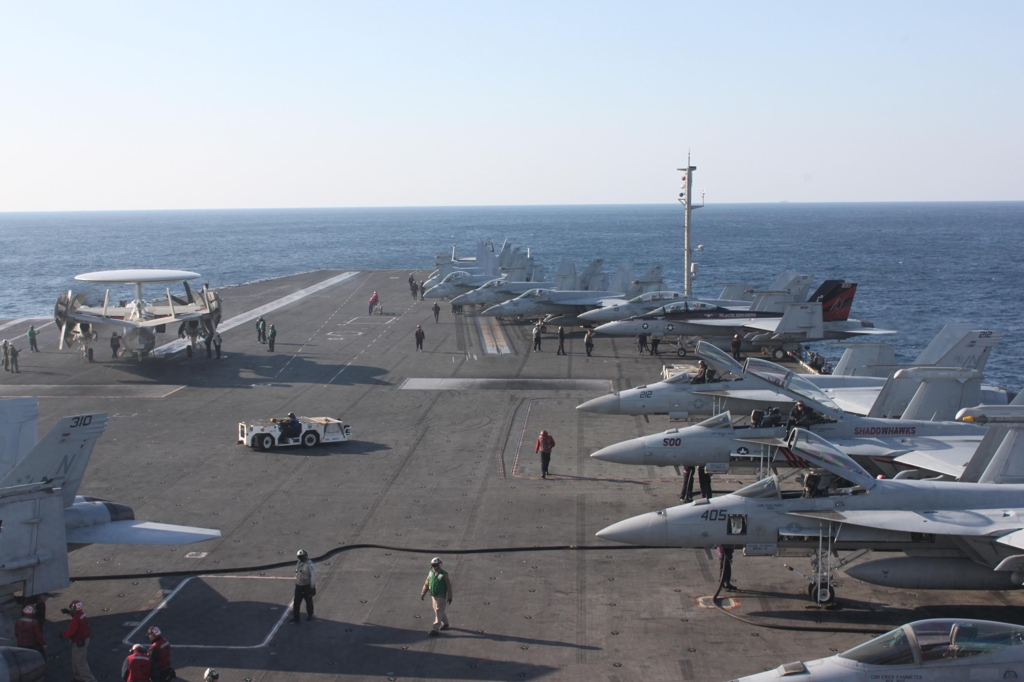 These aircraft onboard the USS Ronald Reagan can be seen from the ship's flag bridge. (Yonhap)