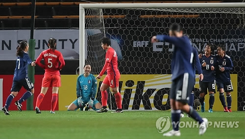 South Korea women's national football team players (in red) react after they surrender a goal to Japan in their opening East Asian Football Federation (EAFF) E-1 Football Championship match at Soga Sports Park in Chiba, Japan, on Dec. 8, 2017. (Yonhap)
