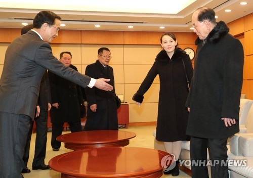 Kim Yo-jong (2nd from R), sister of North Korean leader Kim Jong-un, asks Kim Yong-nam, the country's ceremonial head of state, to take a seat at the VIP room of Incheon International Airport on Feb. 9, 2018. (Yonhap)