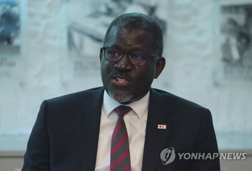 Elhadj As Sy, the secretary-general of the International Federation of Red Cross and Red Crescent Societies (IFRC), speaks during an interview with Yonhap News Agency in Seoul on June 1, 2018. (Yonhap)