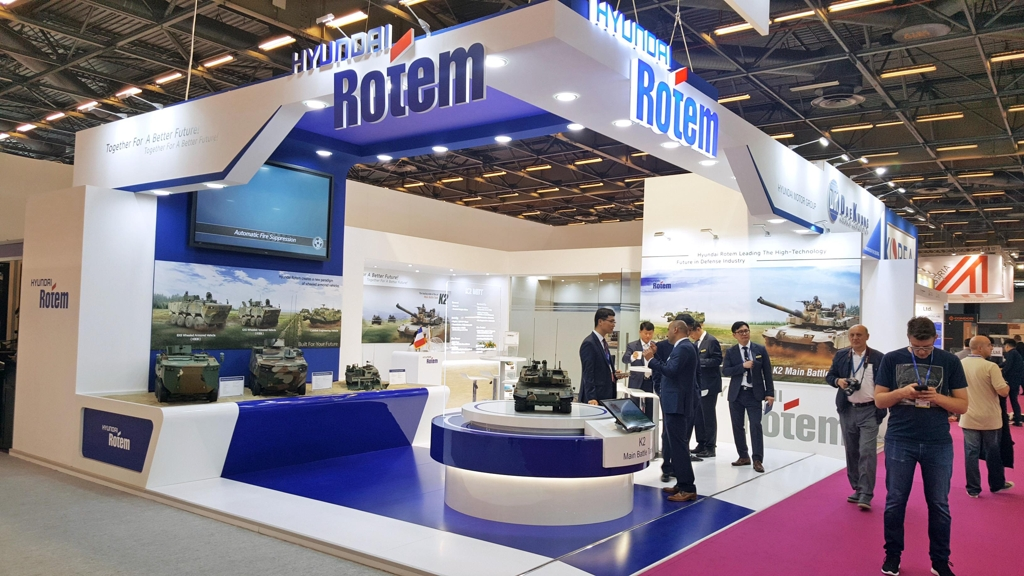 This undated photo provided by Hyundai Rotem shows the company's booth in the 2018 Eurosatory Defense Exhibition being held in Paris from June 11-15, 2018. (Yonhap)