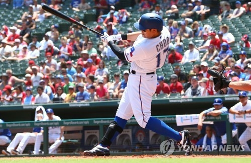 In this Getty Images photo, Choo Shin-soo of the Texas Rangers takes a swing against the Chicago White Sox during the bottom of the first inning of a Major League Baseball regular season game at Globe Life Park in Arlington, Texas, on July 1, 2018. (Yonhap)
