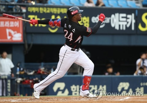 In this file photo from June 14, 2018, Mel Rojas Jr. of the KT Wiz follows through on his three-run homer against the Doosan Bears in the top of the first inning in a Korea Baseball Organization regular season game at Jamsil Stadium in Seoul. (Yonhap)