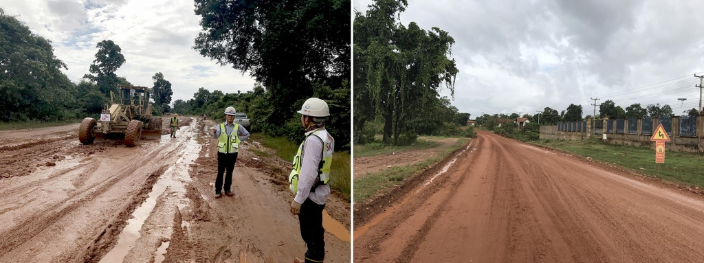 These undated photos offered by SK E&C show the condition of a road in Laos before restoration work (L) and after the work. (Yonhap)