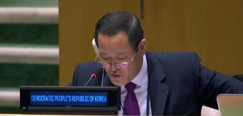 This image captured on UN Web TV shows North Korean Ambassador to the U.N. Kim Song. (Yonhap)