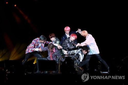 This image of BTS' world concert tour was provided by Big Hit Entertainment. (Yonhap)