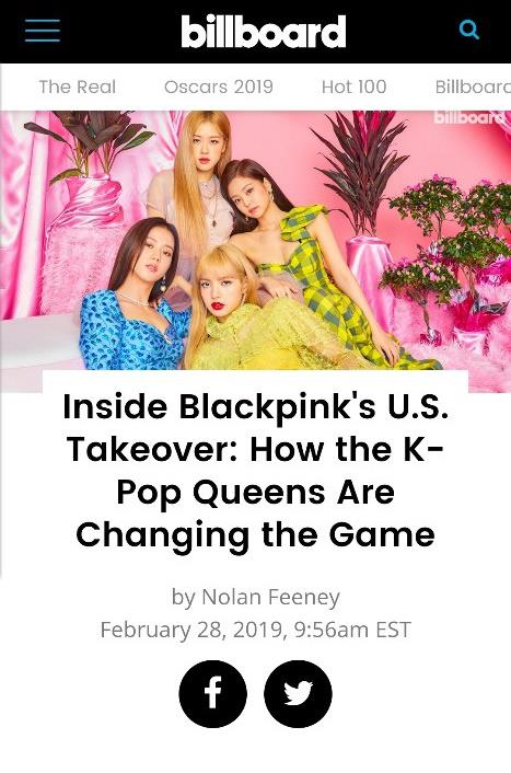 This image of BLACKPINK captured from Billboard's official website is provided by YG Entertainment. (Yonhap)