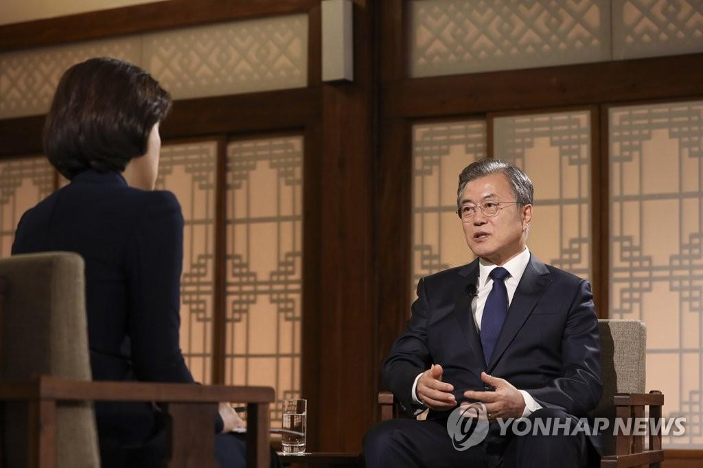 President Moon Jae-in speaks during a special interview with KBS at the presidential office, Cheong Wa Dae, on May 9, 2019, in this photo provided by his office. (Yonhap)
