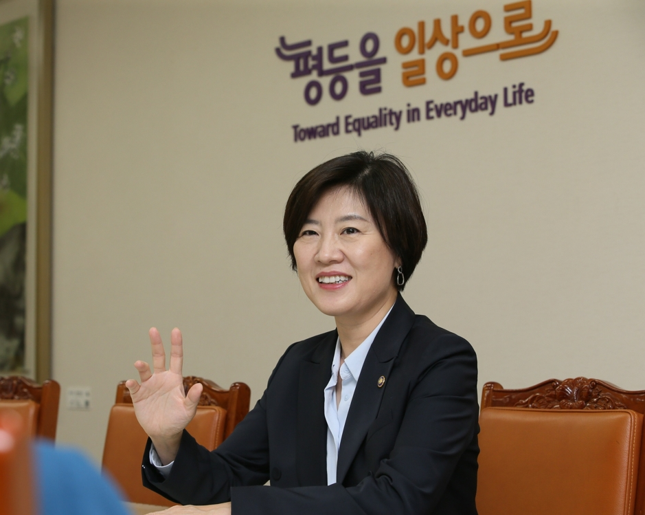 Kim Hee-kyung, vice minister of gender equality and family, speaks during an interview with Yonhap News Agency in Seoul on June 24, 2019. This photo was provided by the Ministry of Gender Equality and Family. (PHOTO NOT FOR SALE) (Yonhap)
