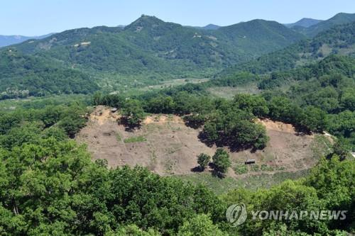 Seen here is Arrowhead Ridge in Cheorwon, Gangwon Province, where a project to remove landmines and excavate war remains has taken place since April 2019. (Yonhap)