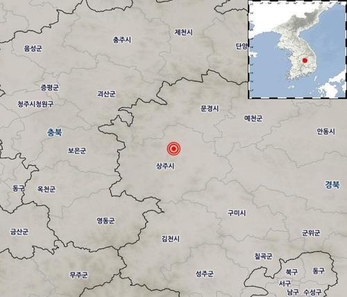 This photo, provided by the Korea Meteorological Administration on July 21, 2019, shows the location of a 3.9 magnitude earthquake that struck the central South Korean city of Sangju, North Gyeongsang Province, earlier in the day. (PHOTO NOT FOR SALE) (Yonhap)