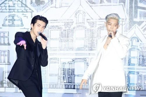 "EXO-SC, a subunit of the nine-member boy band EXO comprising Sehun (L) and Chanyeol, showcases debut EP ""What a Life"" in a press event on July 22, 2019. (Yonhap)"