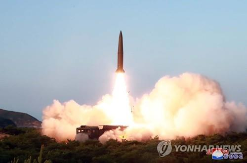 This photo, released by the Korean Central News Agency on July 26, 2019, shows a missile being launched from a site near the North's eastern coastal town of Wonsan the previous day. North Korea fired two short-range missiles into the East Sea, with its leader Kim Jong-un overseeing the launch. (For Use Only in the Republic of Korea. No Redistribution) (Yonhap)