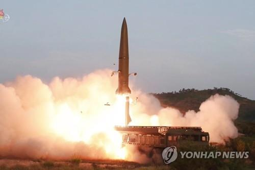This footage, aired by the (North) Korean Central Television on July 26, 2019, shows a short-range missile being fired from a transporter erector launcher on the Hodo Peninsula near the North's eastern coastal town of Wonsan the previous day. South Korea's Joint Chiefs of Staff said on July 31 that North Korea fired multiple unidentified projectiles from the same area earlier in the day, six days after firing two short-range ballistic missiles from the peninsula into the East Sea in its first provocation since May. (For Use Only in the Republic of Korea. No Redistribution) (Yonhap)