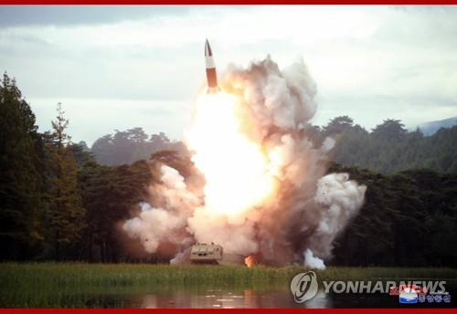 "This photo, carried by the North's Korean Central News Agency on Aug. 17, 2019, shows the test of a ""new weapon"" a day earlier. The projectile is believed to be the North Korean version of the U.S.' Army Tactical Missile System (ATACMS). (For Use Only in the Republic of Korea. No Redistribution) (Yonhap)"