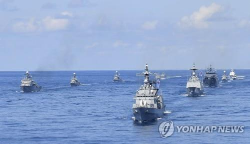 South Korean warships operated by the Navy and the Coast Guard participate in the drills on and around its easternmost islets of Dokdo in the East Sea on Aug. 25, 2019, in this photo provided by the Navy. (PHOTO NOT FOR SALE) (Yonhap)