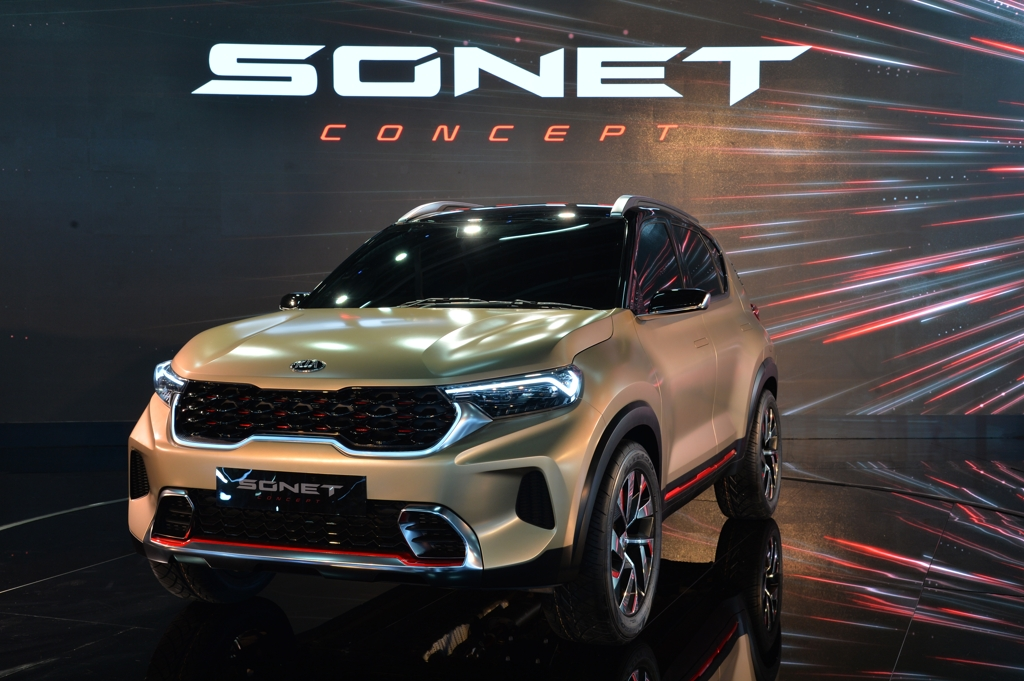 This photo provided by Kia Motors shows its Sonet concept at the New Delhi Auto Expo on Feb. 4, 2020. (PHOTO NOT FOR SALE) (Yonhap)