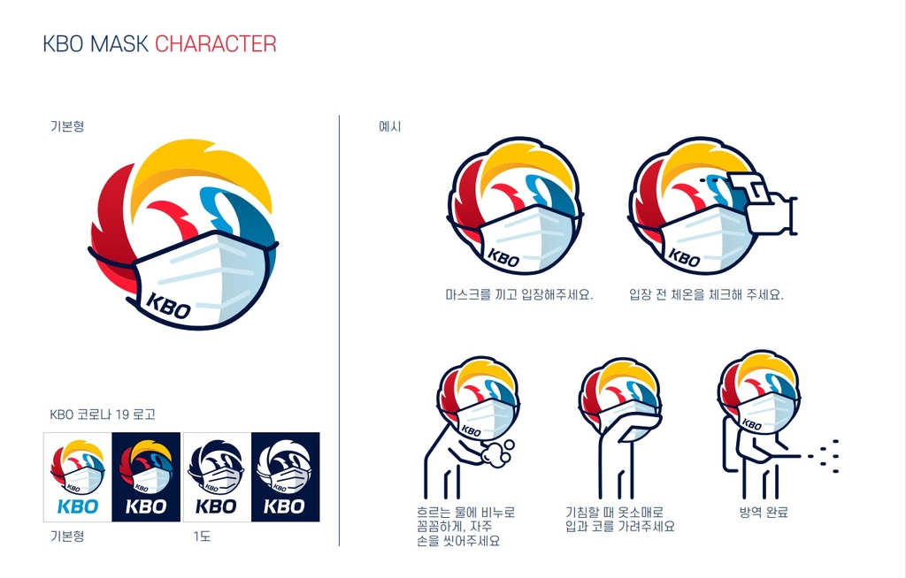 This image provided by the Korea Baseball Organization on April 6, 2020, shows the league's guidelines for preventing the spread of the coronavirus, including wearing masks and frequent hand-washing. (PHOTO NOT FOR SALE) (Yonhap)