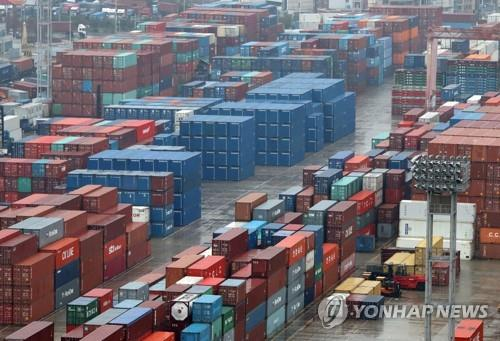 The undated file photo shows stacks of containers at South Korea's largest seaport in Busan, located some 450 kilometers south of Seoul. (Yonhap)