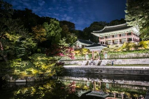 This photo provided by the Cultural Heritage Administration shows the royal palace Changdeok in Seoul during the Changdeokgung Moonlight Tour. (PHOTO NOT FOR SALE) (Yonhap)