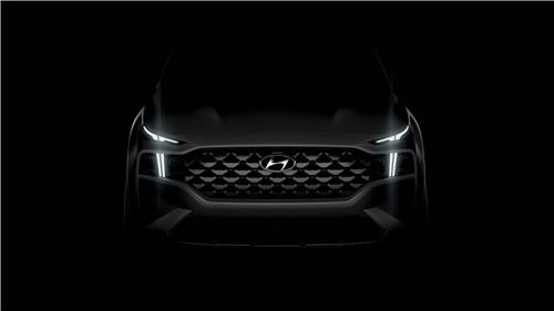This teaser image provided by Hyundai Motor shows the front image of the face-lifted Santa Fe SUV to be launched in the domestic market next month. (PHOTO NOT FOR SALE) (Yonhap)