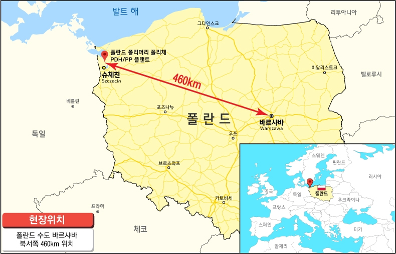 This map, provided by Hyundai Engineering Co., shows the location of the proposed polypropylene plant in Poland. (PHOTO NOT FOR SALE) (Yonhap)