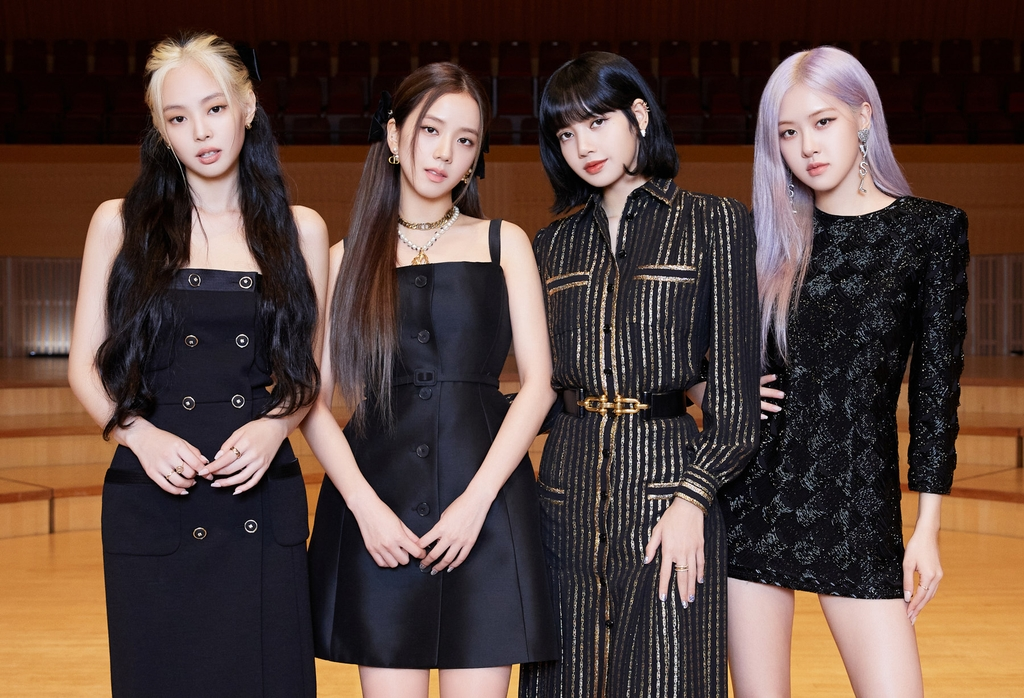 This photo provided by YG Entertainment shows K-pop girl group BLACKPINK posing for a photo at a press conference held at Lotte Concert Hall in Seoul on Jun 26, 2020. (Yonhap)