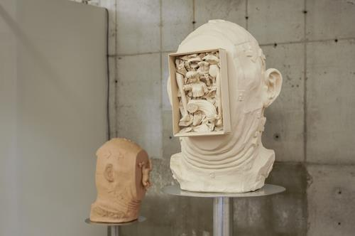 "This image, provided by Art Sonje Center on July 27, 2020, shows a sculpture from Don Sun-pil's solo exhibit ""Portrait Fist"" at the gallery in central Seoul. (PHOTO NOT FOR SALE) (Yonhap)"