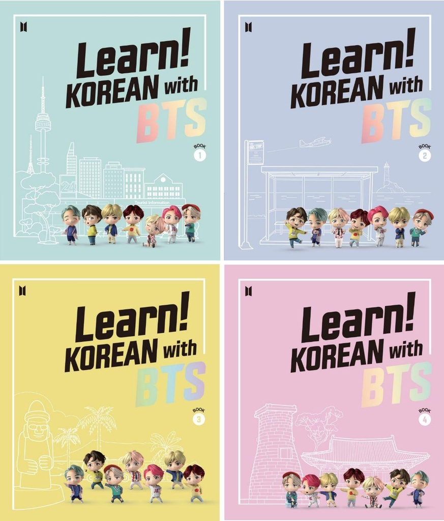 "This composite image provided by Big Hit Entertainment on Aug. 11, 2020, shows cover images of textbooks for ""Learn! Korean with BTS,"" a new remote Korean learning course by the Korea Foundation. (PHOTO NOT FOR SALE) (Yonhap)"