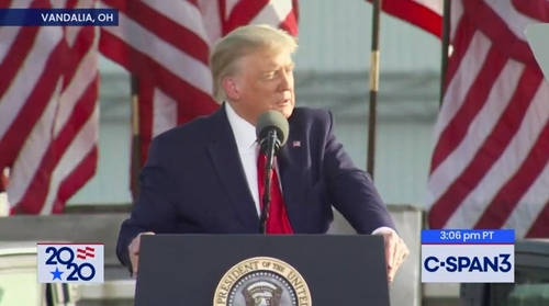 This captured image from the website of U.S. cable network C-Span shows U.S. President Donald Trump speaking at an election rally in Dayton, Ohio, on Sept. 21, 2020. (Yonhap)