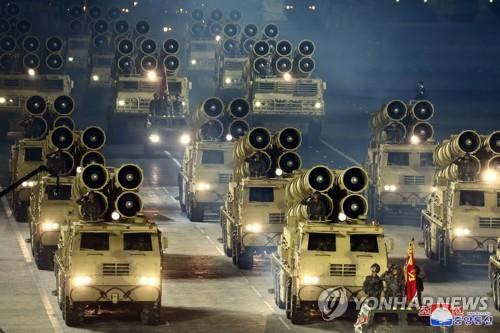 This photo, released by North Korea's Korean Central News Agency, shows rocket launcher vehicles during a military parade held at Kim Il-sung Square in Pyongyang on Oct. 10, 2020, to mark the 75th founding anniversary of the Workers' Party. (For Use Only in the Republic of Korea. No Redistribution) (Yonhap)