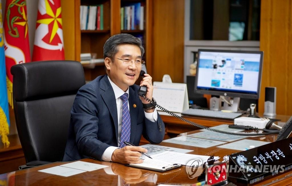 This Oct. 8, 2020 file photo provided by the defense ministry shows Defense Minister Suh Wook at his office. (PHOTO NOT FOR SALE) (Yonhap)