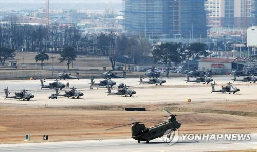 This photo taken on Feb. 27, 2020, shows Helicopters of the U.S. Forces Korea (USFK) at U.S. base Camp Humphreys in Pyeongtaek, 70 kilometers south of Seoul. (Yonhap)
