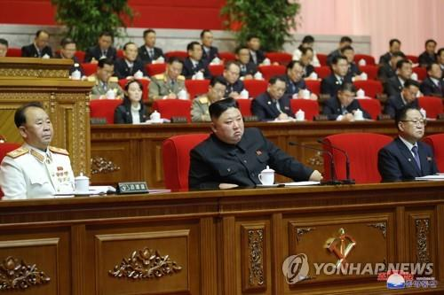 North Korean leader Kim Jong-un (C) speaks during a fifth-day session of the eighth congress of the ruling Workers' Party in Pyongyang on Jan. 9, 2021, in this image released by the official Korean Central News Agency (KCNA) the next day. (For Use Only in the Republic of Korea. No Redistribution) (Yonhap)