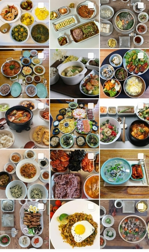 "These images, captured from Instagram with the hashtag of ""Jipbab"" on Jan. 12, 2021, shows a variety of rice-based Korean dishes. (PHOTO NOT FOR SALE) (Yonhap)"
