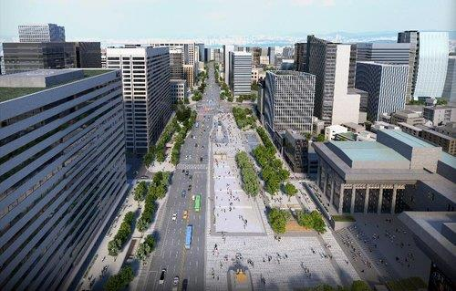 This image, provided by the Seoul metropolitan government, illustrates Gwanghwamun Square, viewed from the north, after the road to its west is turned into a park. (PHOTO NOT FOR SALE) (Yonhap)