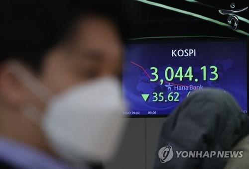 Electronic signboards at a Hana Bank dealing room in Seoul show the benchmark Korea Composite Stock Price Index (KOSPI) opened at 3,099.13 on Feb. 23, 2021, down 35.62 points or 0.34 percent from the previous session's close. (Yonhap)