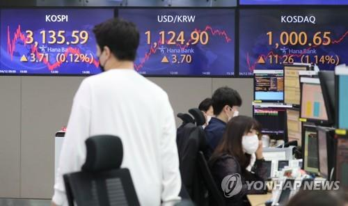 Electronic signboards at a Hana Bank dealing room in Seoul show the benchmark Korea Composite Stock Price Index (KOSPI) closed at 3,135.59 on April 12, 2021, up 3.71 points or 0.12 percent from the previous session's close. The secondary KOSDAQ rose 11.26 points, or 1.14 percent, to close at 1,000.65, marking the first time that it passed the milestone since Sept. 14, 2000. (Yonhap)