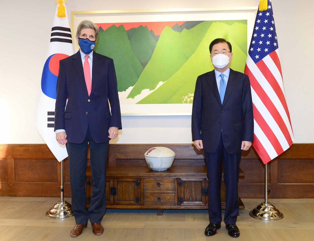 (LEAD) FM Chung, U.S envoy hold dinner talks on climate change cooperation