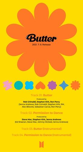"""This photo, provided by Big Hit Music, shows the tracklist of K-pop superstar BTS' single CD """"Butter,"""" set to be released July 9, 2021. (PHOTO NOT FOR SALE) (Yonhap)"""