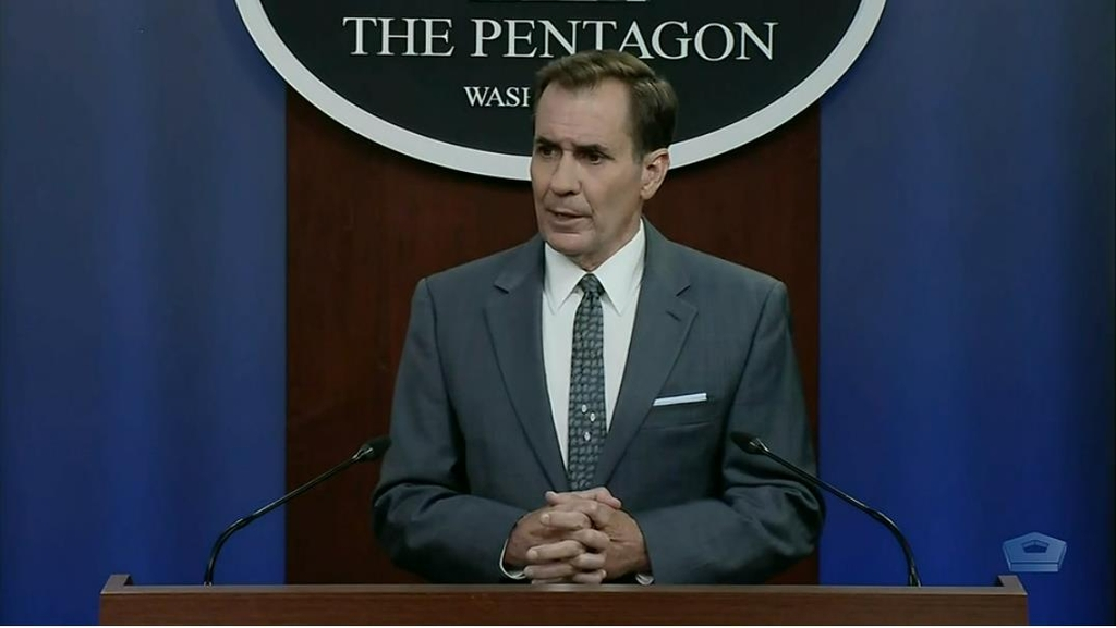 John Kirby, spokesman for the U.S. Department of Defense, is seen answering questions at a press briefing at the Defense Department in Washington on July 19, 2021, in this image captured from the department's website. (PHOTO NOT FOR SALE) (Yonhap)